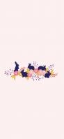 可愛い兎と花のイラスト iPhone 12 Pro スマホ壁紙・待ち受け