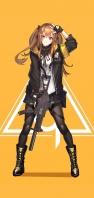 オレンジの背景 黒い服を着た可愛い女の子 AQUOS sense5G 壁紙・待ち受け