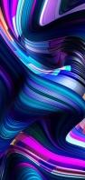 鮮やかなうねるような青・紫のライン AQUOS sense4 壁紙・待ち受け