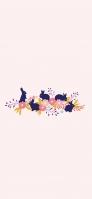 可愛い兎と花のイラスト iPhone 11 Pro スマホ壁紙・待ち受け