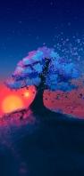 綺麗な丘の上の青い葉の樹 AQUOS sense4 壁紙・待ち受け