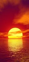 綺麗な夕日と海 雲 AQUOS sense4 壁紙・待ち受け