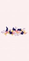 可愛い青い兎 ピンクの花のイラスト AQUOS sense5G 壁紙・待ち受け