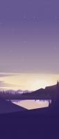 夜 星空と山間部の湖のイラスト Xperia 10 III Androidスマホ壁紙・待ち受け