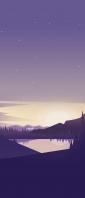 紫の星空 山間部の湖 Xperia 10 III Androidスマホ壁紙・待ち受け