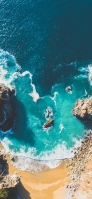 俯瞰視点 緑の海 砂浜 iPhone 12 mini スマホ壁紙・待ち受け