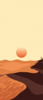 砂漠と赤い夕陽のイラスト Xperia 10 III Androidスマホ壁紙・待ち受け