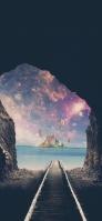 海に続く洞窟と線路 iPhone 12 mini スマホ壁紙・待ち受け