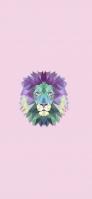 淡いカラフルなポリゴンのライオン iPhone 12 mini スマホ壁紙・待ち受け
