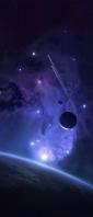 紫の宇宙 惑星 彗星 星 Xperia 10 II Androidスマホ壁紙・待ち受け
