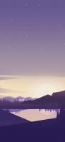 紫色の星空 山に囲まれた湖 iPhone 12 mini スマホ壁紙・待ち受け
