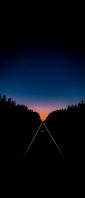 夕焼け 真っすぐに続く線路 Xperia 10 II Androidスマホ壁紙・待ち受け