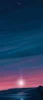 夜 沈む夕日 イラスト Xperia 10 II Androidスマホ壁紙・待ち受け