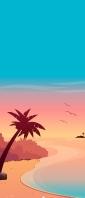 ハワイの海のイラスト Xperia 10 II Androidスマホ壁紙・待ち受け