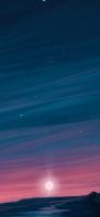 沈む夕日と星空のイラスト iPhone 12 mini スマホ壁紙・待ち受け