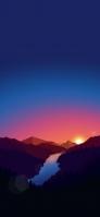 暗い青・オレンジの夕暮れ ポリゴンの山 iPhone 12 mini スマホ壁紙・待ち受け