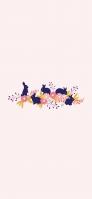 兎と花と草のイラスト iPhone 12 Pro スマホ壁紙・待ち受け