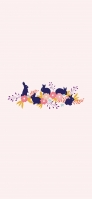 兎と花と草のイラスト iPhone 12 スマホ壁紙・待ち受け
