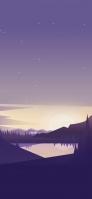 紫の星空 湖 山のイラスト iPhone 12 スマホ壁紙・待ち受け