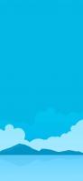 青い空と山と海のイラスト iPhone 12 スマホ壁紙・待ち受け