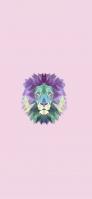 淡いカラフルなポリゴンのライオン iPhone 12 スマホ壁紙・待ち受け