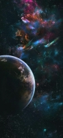 大宇宙 青いリアルな地球 iPhone 12 Pro スマホ壁紙・待ち受け