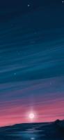 夜空と夕日と大地のイラスト iPhone 12 Pro スマホ壁紙・待ち受け