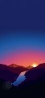 綺麗な夜空と夕日と茶色い山と森と川 iPhone 12 スマホ壁紙・待ち受け