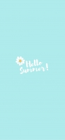白い花 Hello Summer! 淡い水色 iPhone 12 Pro スマホ壁紙・待ち受け