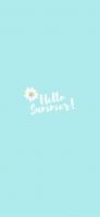 白い花 Hello Summer! 淡い水色 iPhone 12 スマホ壁紙・待ち受け