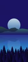 満月と山と湖と森のイラスト iPhone 12 Pro スマホ壁紙・待ち受け