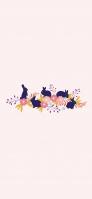 兎とピンクの花と草のイラスト iPhone 12 mini スマホ壁紙・待ち受け