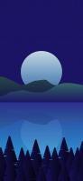月と山と湖のイラスト iPhone 12 mini スマホ壁紙・待ち受け