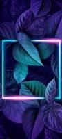 紫・緑の葉 緑・紫の光る四角 Galaxy A32 5G 壁紙・待ち受け
