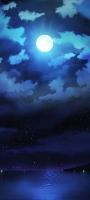 青い満月 綺麗な星空 雲 Galaxy A32 5G 壁紙・待ち受け