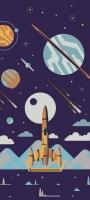 宇宙 ロケットのイラスト Galaxy A32 5G 壁紙・待ち受け