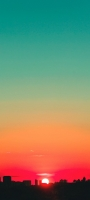 緑とオレンジのグラデーションの空 夕日 Mi 10 Lite 5G 壁紙・待ち受け
