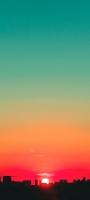 緑とオレンジのグラデーションの空 夕日 OPPO Reno5 A Androidスマホ壁紙・待ち受け