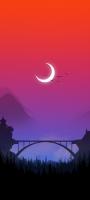 三日月 渡り鳥 赤い空 鉄橋 イラスト Galaxy A32 5G 壁紙・待ち受け