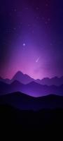 紫 グラデーション 流れ星 山 アート Redmi Note 9S Androidスマホ壁紙・待ち受け