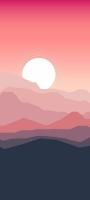 夕日 太陽 山脈 イラスト Redmi Note 9S Androidスマホ壁紙・待ち受け