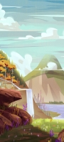 滝 空 川 自然 イラスト OPPO Reno5 A Androidスマホ壁紙・待ち受け