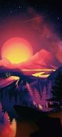 赤い太陽と山 イラスト Mi 10 Lite 5G 壁紙・待ち受け
