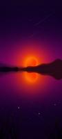 黒い山と赤い月 OPPO Reno5 A Androidスマホ壁紙・待ち受け
