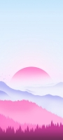 薄い水色の空 赤い太陽 青・赤の山 Redmi Note 10 Pro Androidスマホ壁紙・待ち受け
