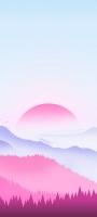薄い水色の空 赤い太陽 青・赤の山 Redmi Note 9S Androidスマホ壁紙・待ち受け