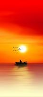 ボートで釣りをする人と渡り鳥と夕日 Redmi Note 10 Pro Androidスマホ壁紙・待ち受け