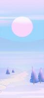 ピンクと水色の月と雪原地帯 イラスト Galaxy A32 5G 壁紙・待ち受け