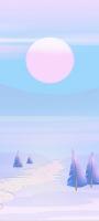 ピンクと水色の月と雪原地帯 イラスト Mi 11 Lite 5G 壁紙・待ち受け