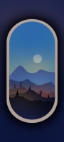 電車の窓から見た月と山 イラスト Galaxy A32 5G 壁紙・待ち受け